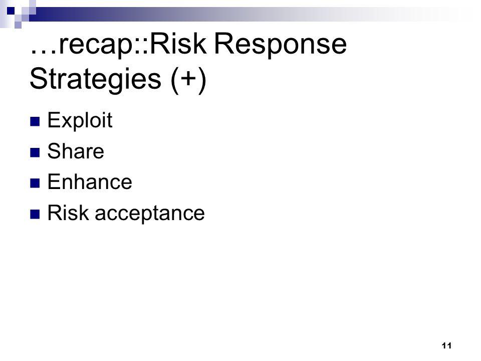 …recap::Risk Response Strategies (+)