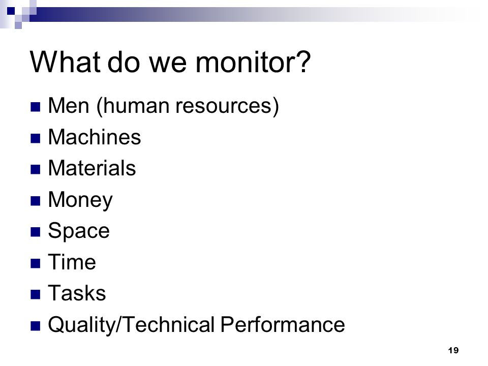 What do we monitor Men (human resources) Machines Materials Money