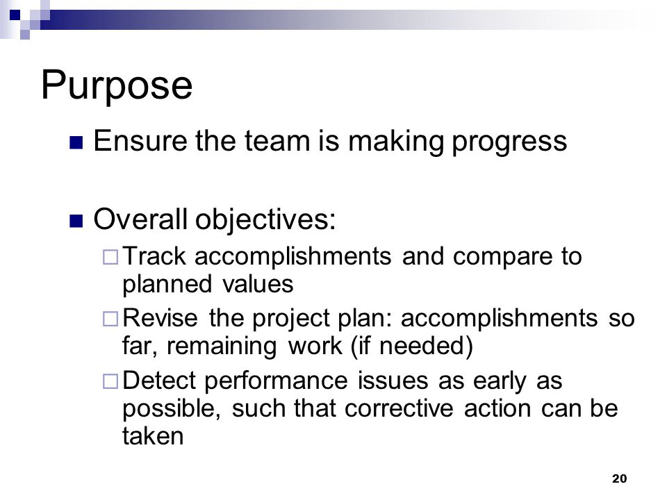 Purpose Ensure the team is making progress Overall objectives: