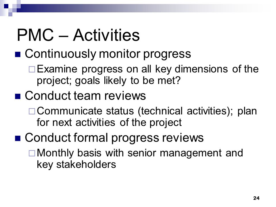 PMC – Activities Continuously monitor progress Conduct team reviews