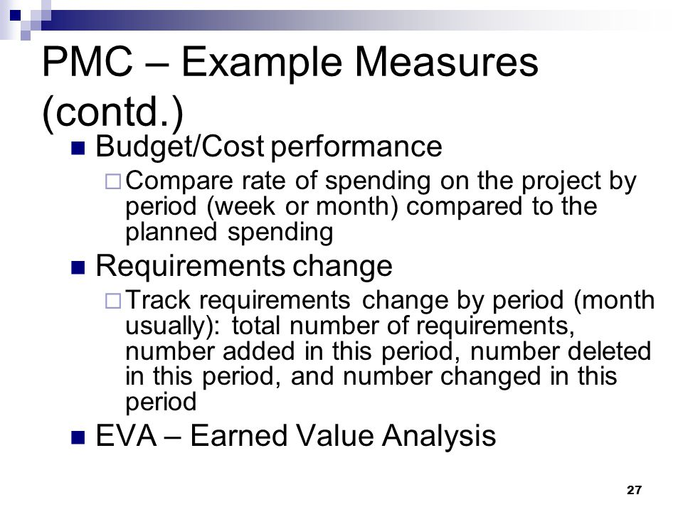 PMC – Example Measures (contd.)