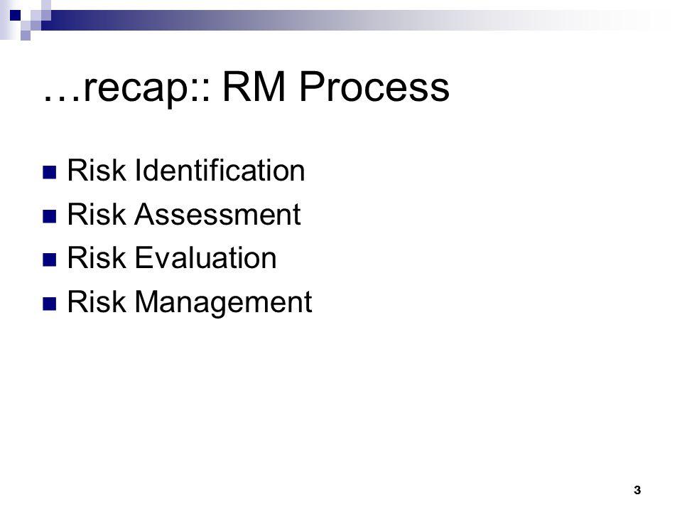 …recap:: RM Process Risk Identification Risk Assessment