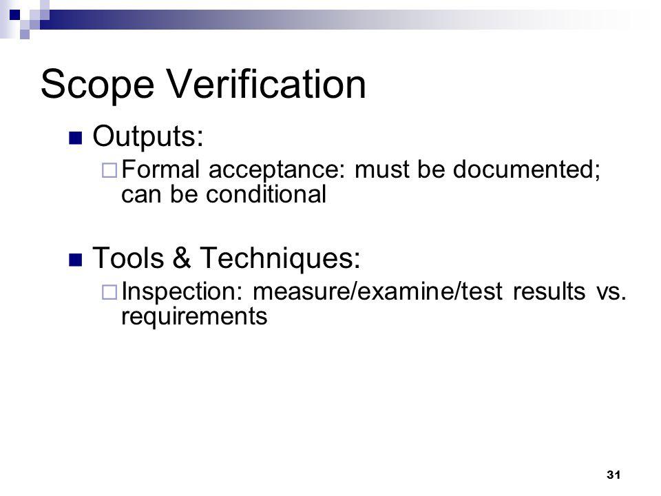 Scope Verification Outputs: Tools & Techniques: