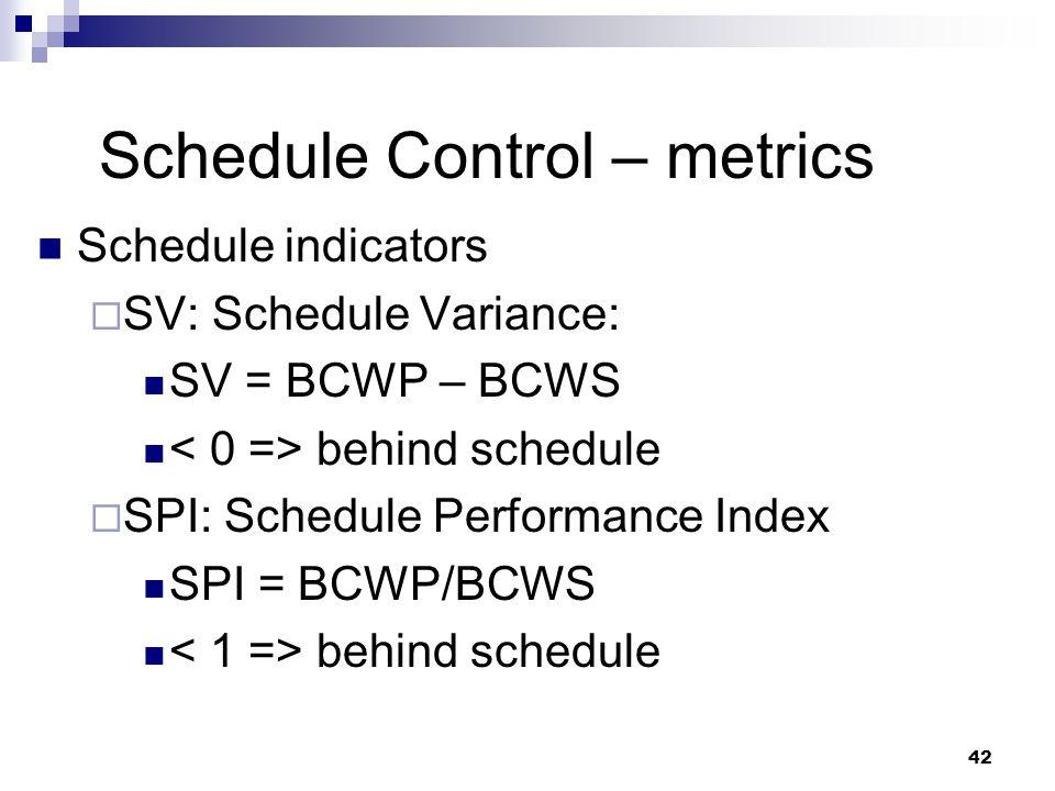 Schedule Control – metrics