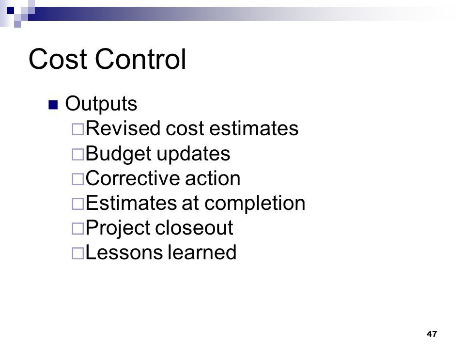 Cost Control Outputs Revised cost estimates Budget updates