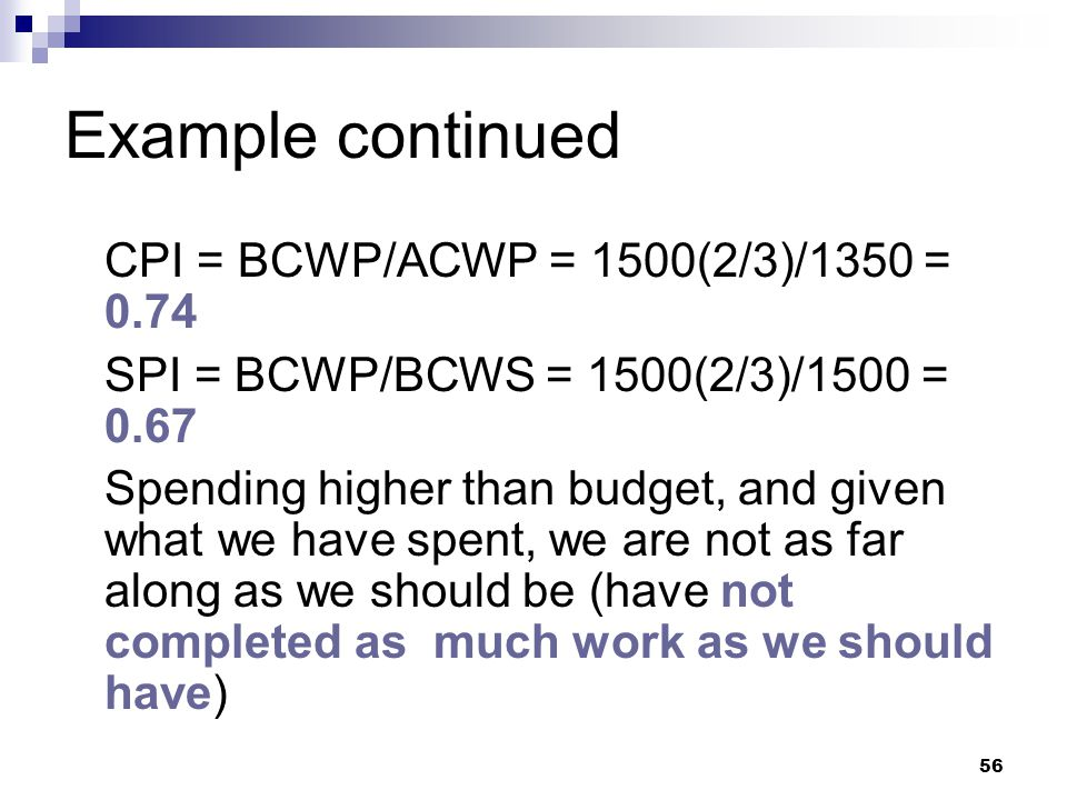 Example continued CPI = BCWP/ACWP = 1500(2/3)/1350 = 0.74