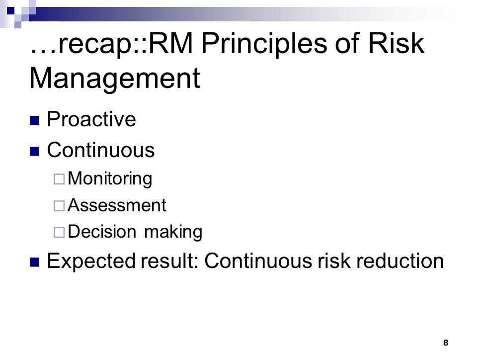 …recap::RM Principles of Risk Management