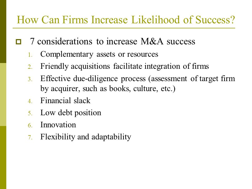 How Can Firms Increase Likelihood of Success