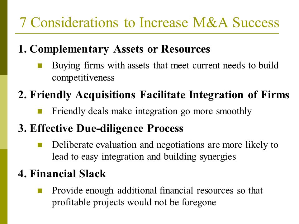 7 Considerations to Increase M&A Success
