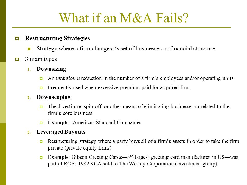 What if an M&A Fails Restructuring Strategies