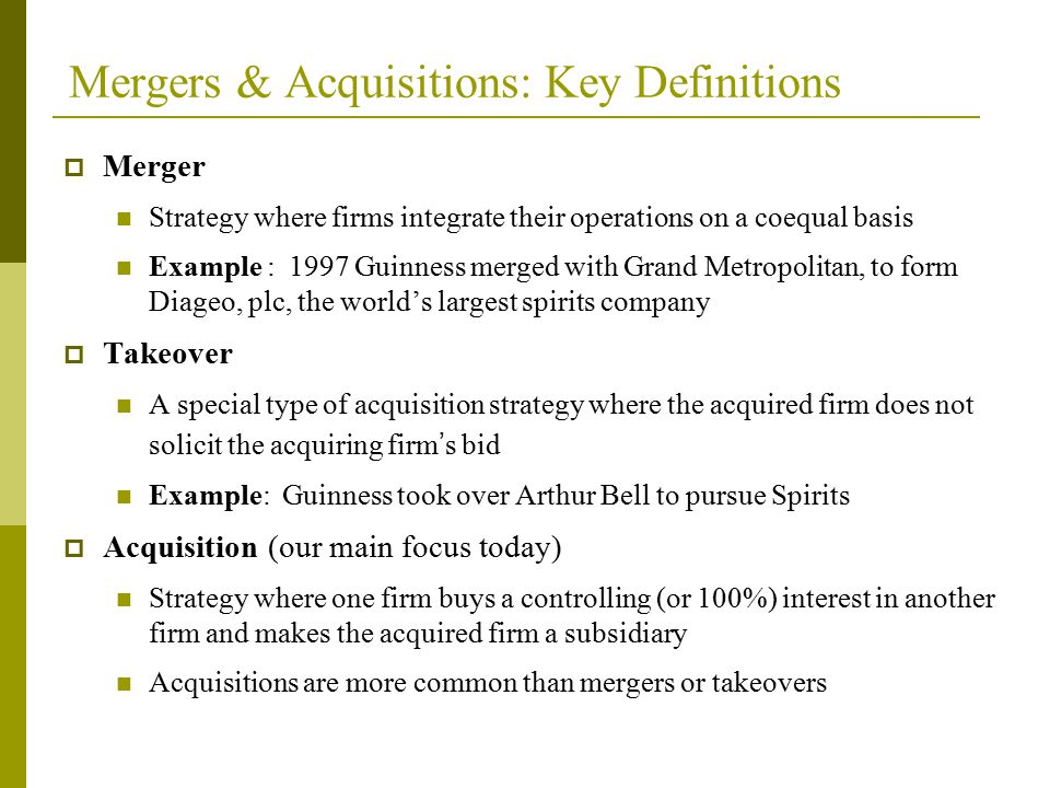 Mergers & Acquisitions: Key Definitions