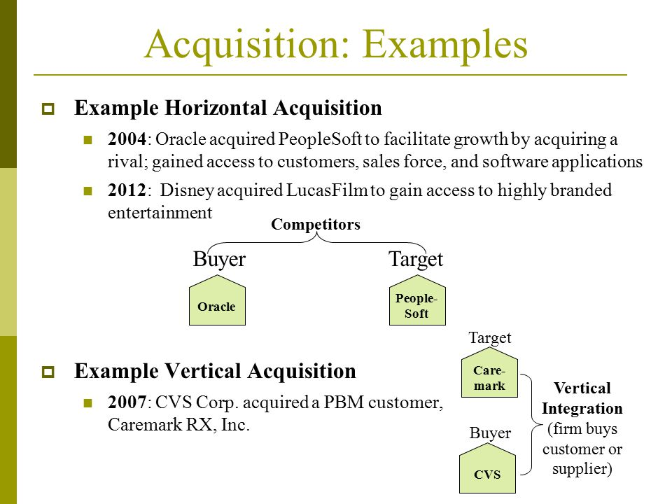 Acquisition: Examples