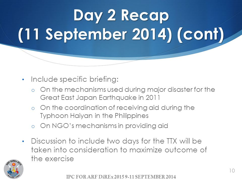 Day 2 Recap (11 September 2014) (cont)
