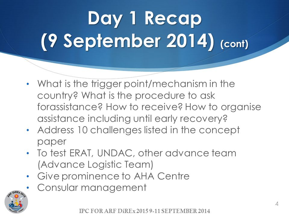 Day 1 Recap (9 September 2014) (cont)