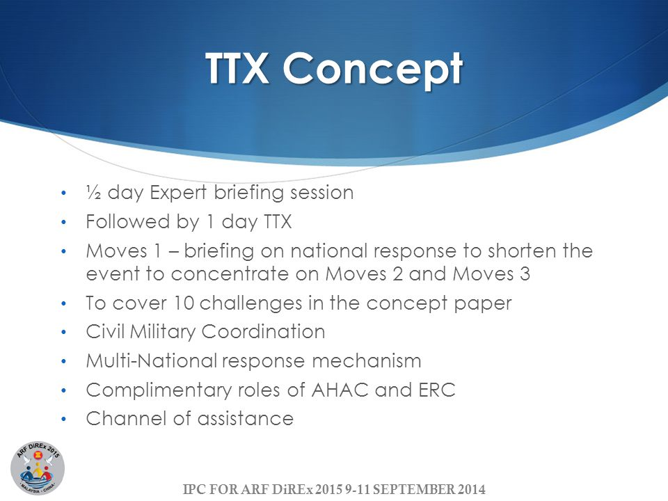 TTX Concept ½ day Expert briefing session Followed by 1 day TTX