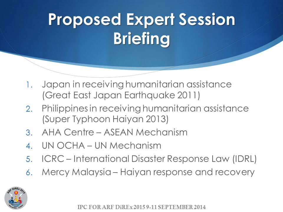 Proposed Expert Session Briefing