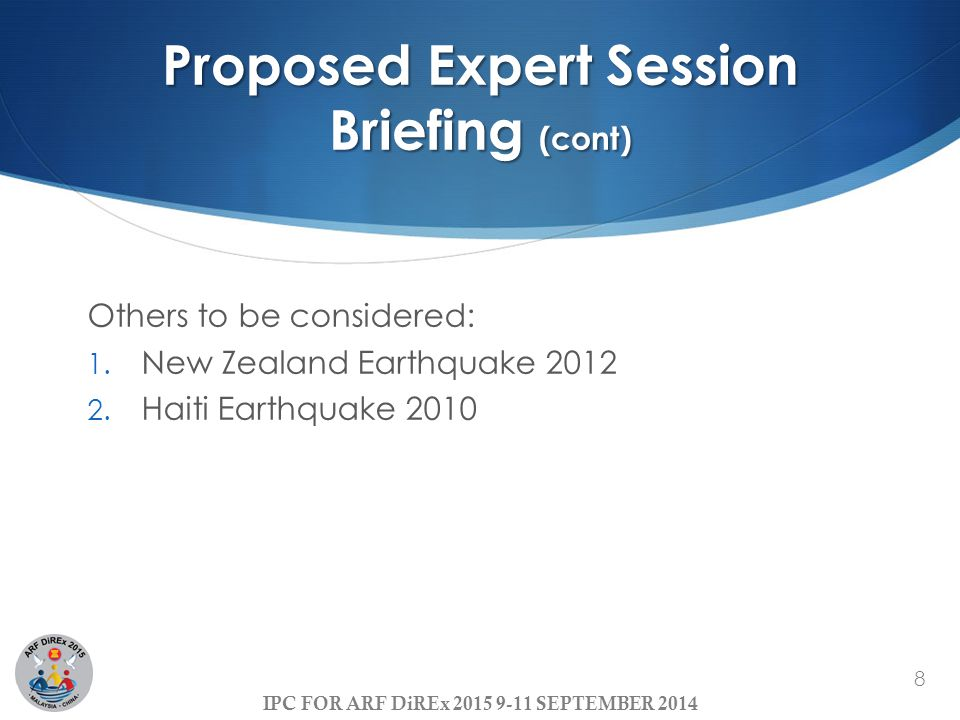 Proposed Expert Session Briefing (cont)