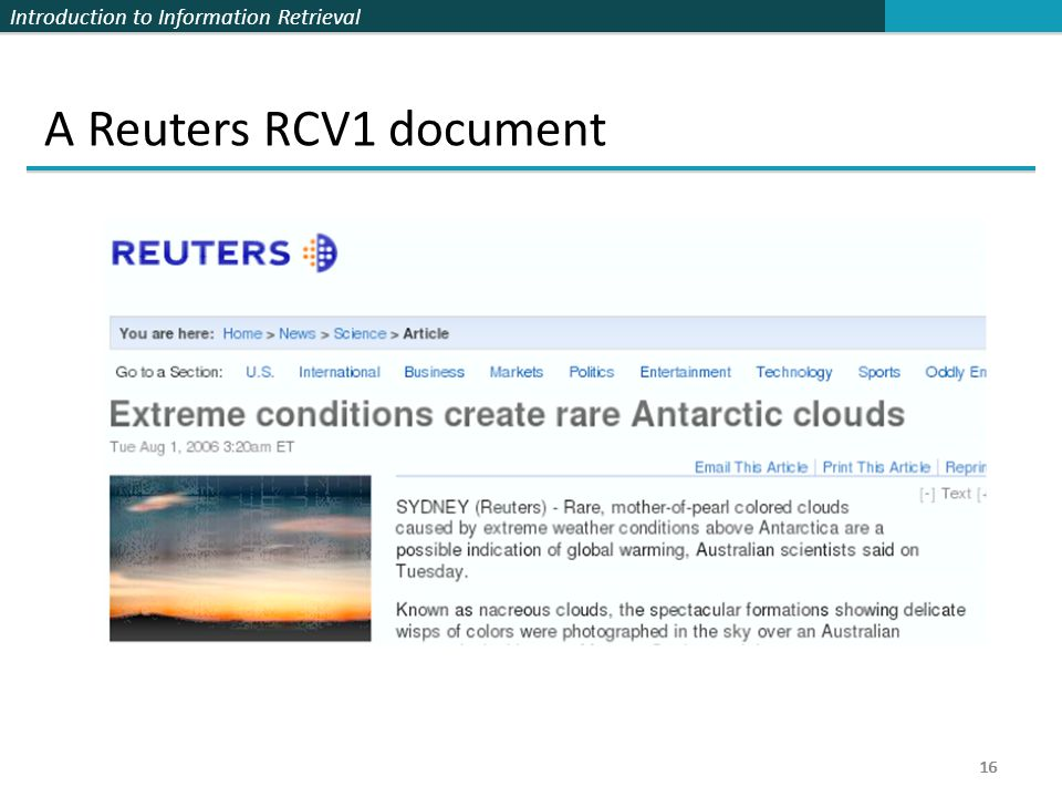 A Reuters RCV1 document 16