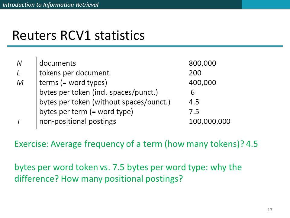 Reuters RCV1 statistics