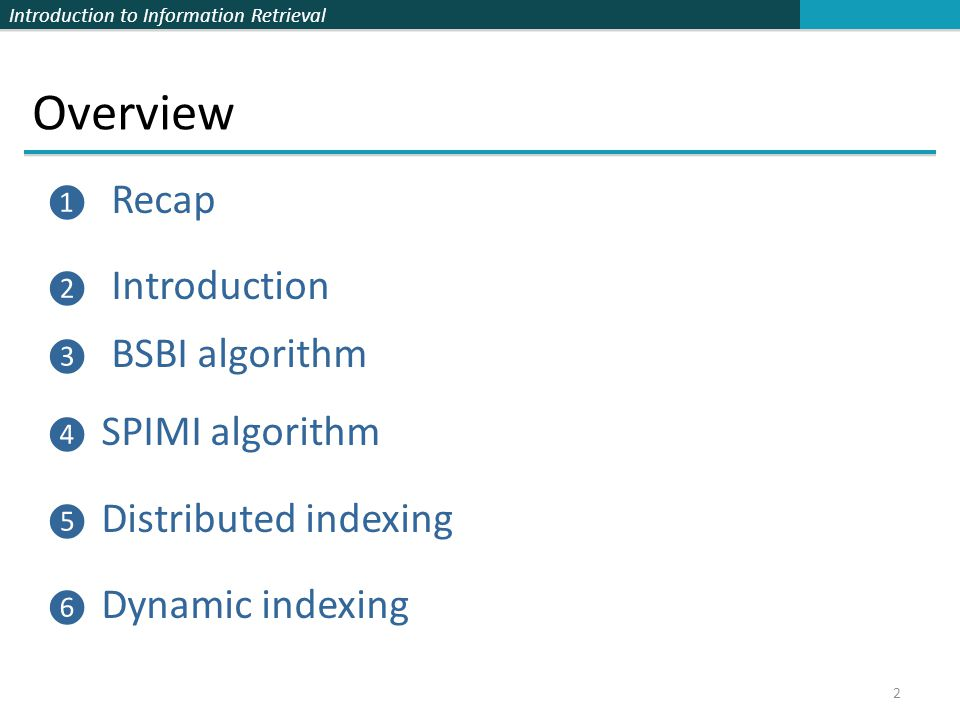 Overview Recap Introduction BSBI algorithm SPIMI algorithm
