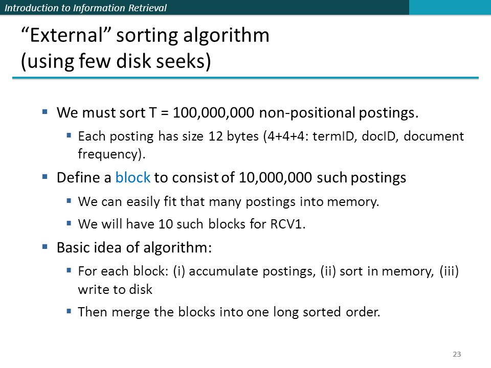 External sorting algorithm (using few disk seeks)