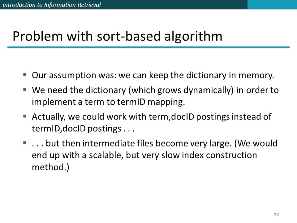 Problem with sort-based algorithm