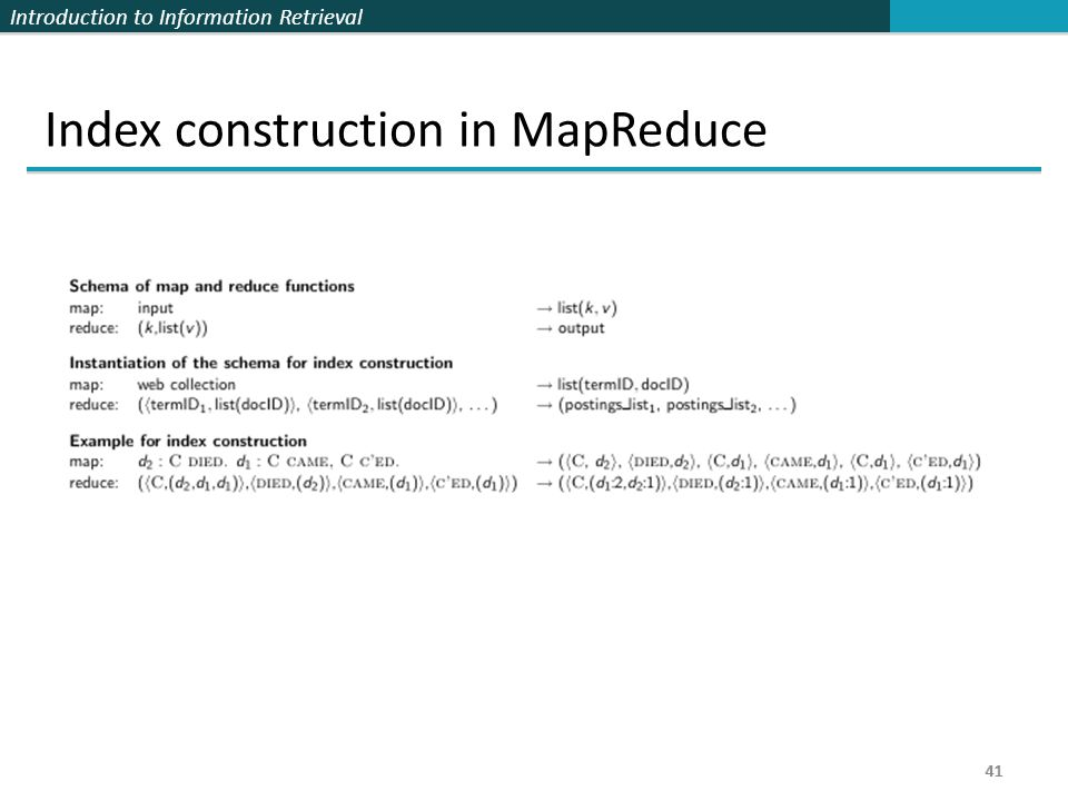 Index construction in MapReduce