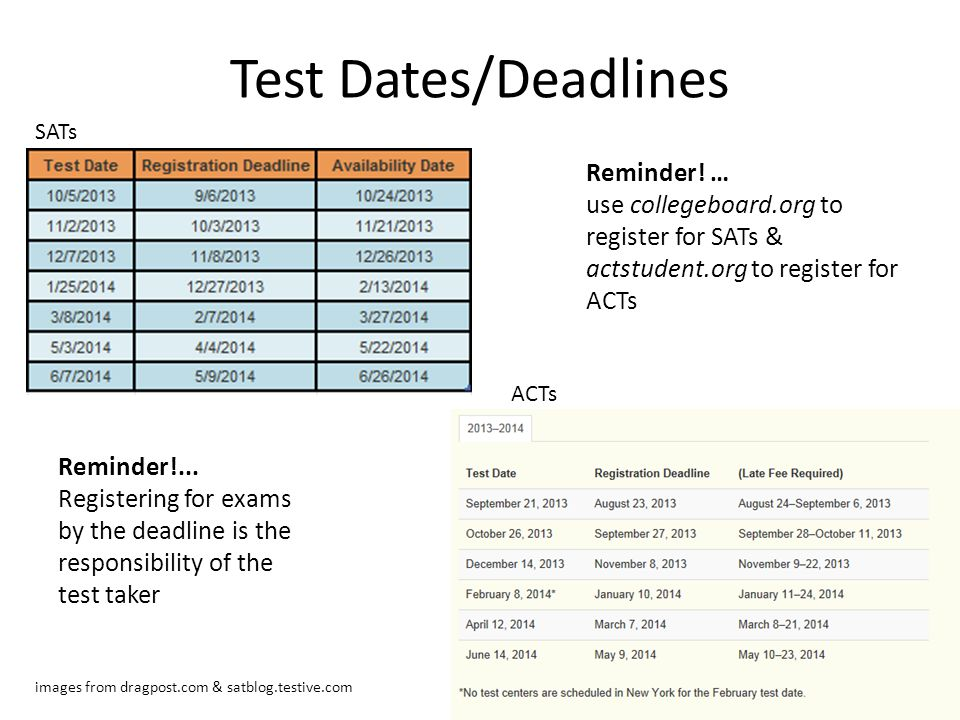 Test Dates/Deadlines Reminder! …