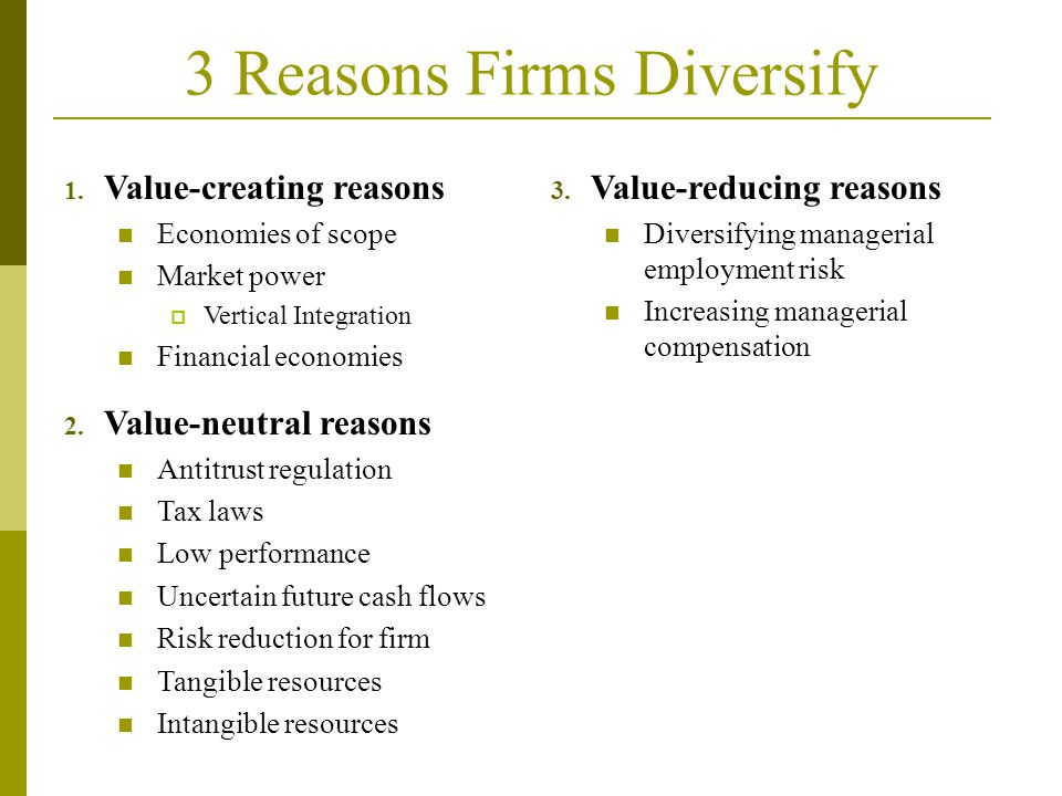 3 Reasons Firms Diversify