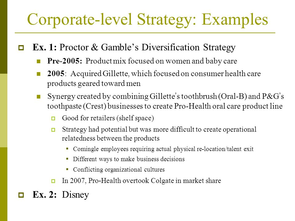 Business level and corporate level strategy