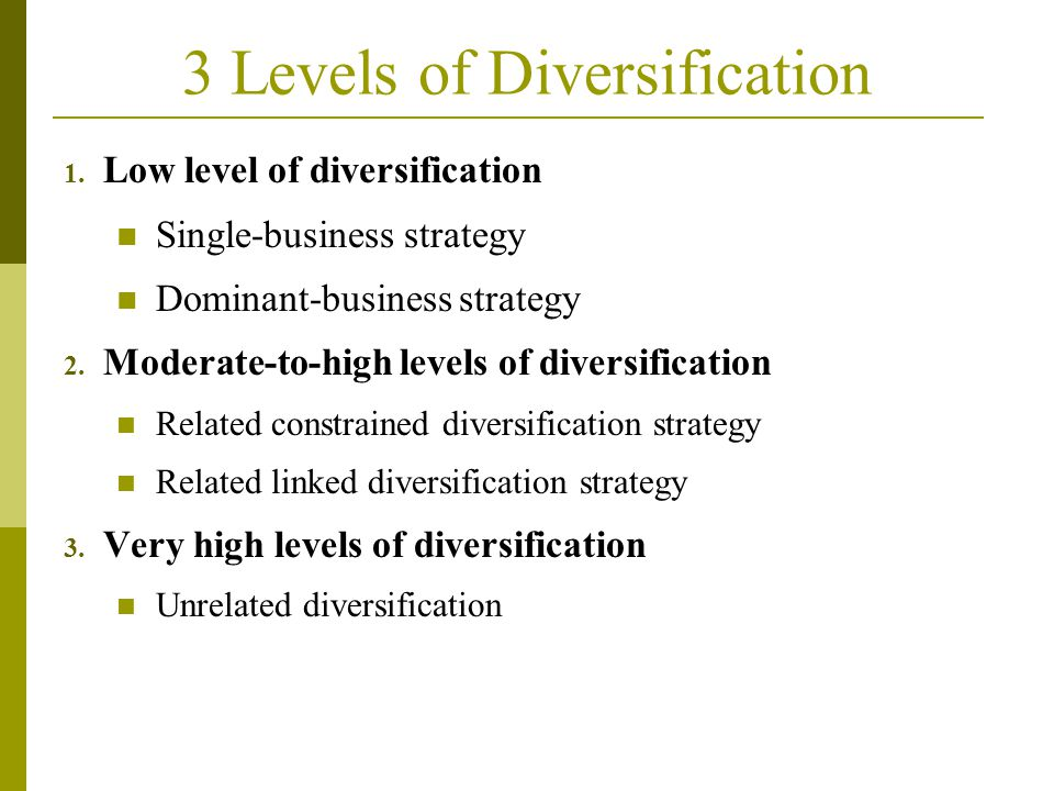 3 Levels of Diversification