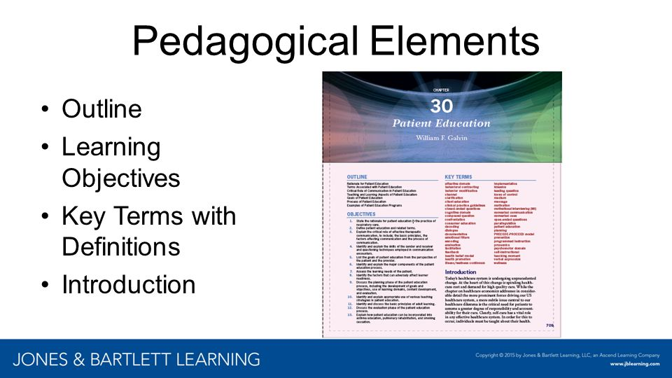 Pedagogical Elements Outline Learning Objectives