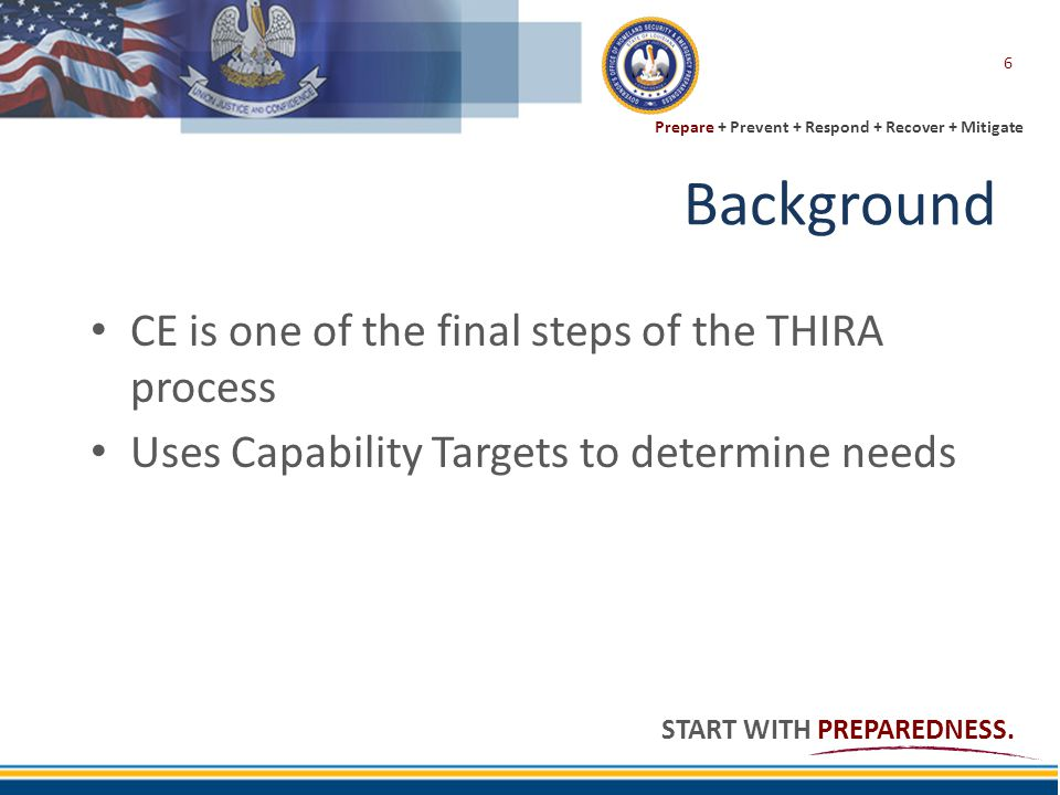Background CE is one of the final steps of the THIRA process