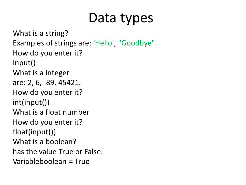 Data types What is a string