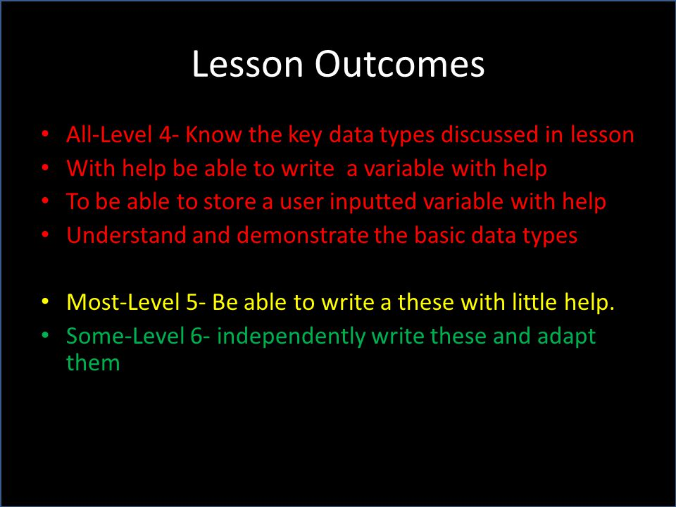 Lesson Outcomes All-Level 4- Know the key data types discussed in lesson. With help be able to write a variable with help.