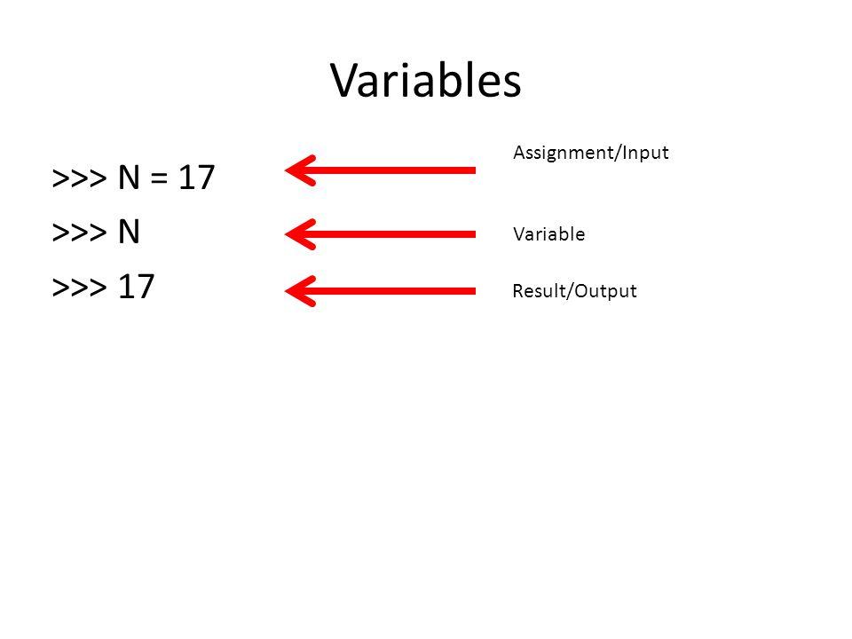 Variables >>> N = 17 >>> N >>> 17
