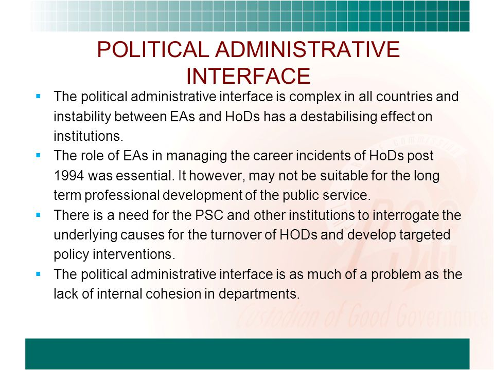 POLITICAL ADMINISTRATIVE INTERFACE