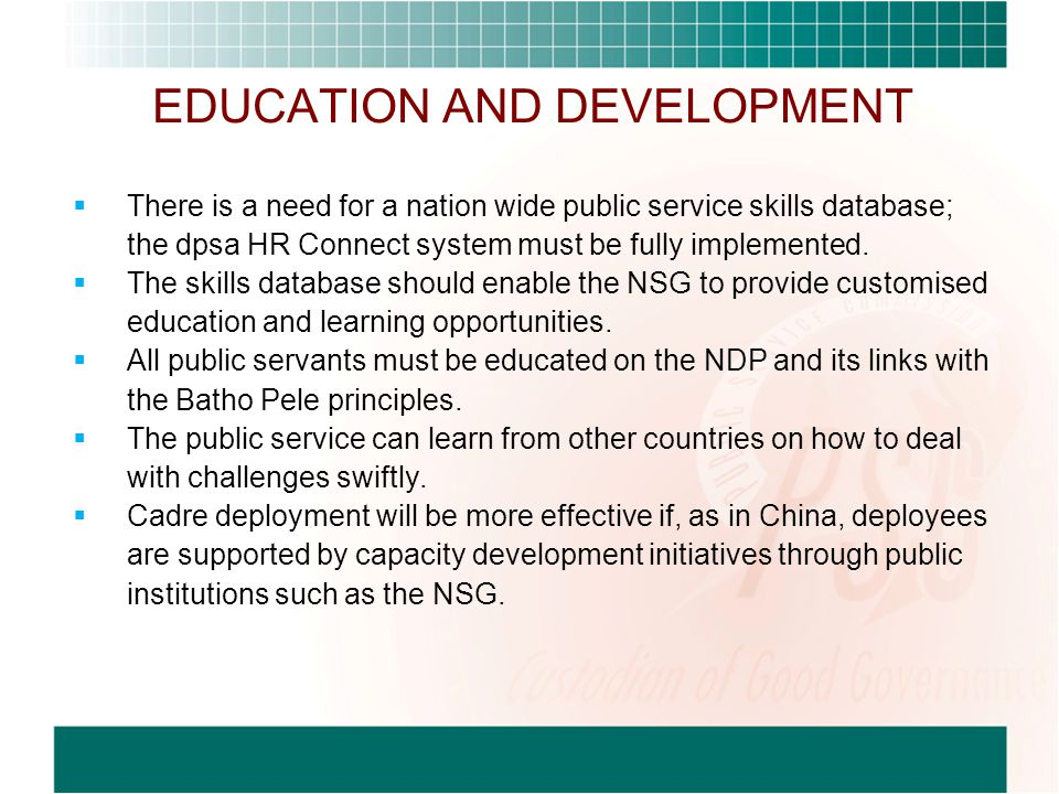 EDUCATION AND DEVELOPMENT