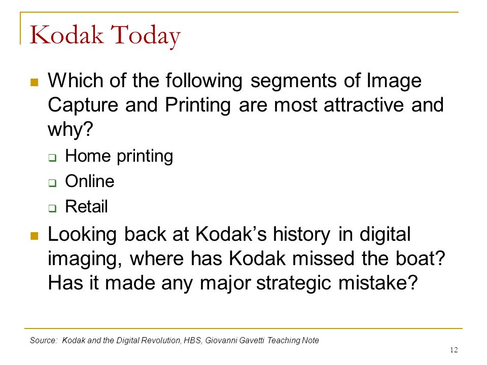 Kodak Today Which of the following segments of Image Capture and Printing are most attractive and why