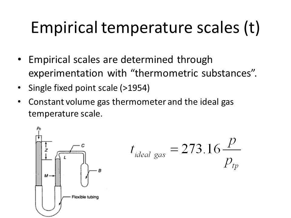 Empirical temperature scales (t)