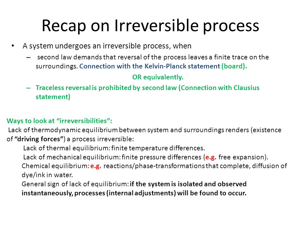 Recap on Irreversible process