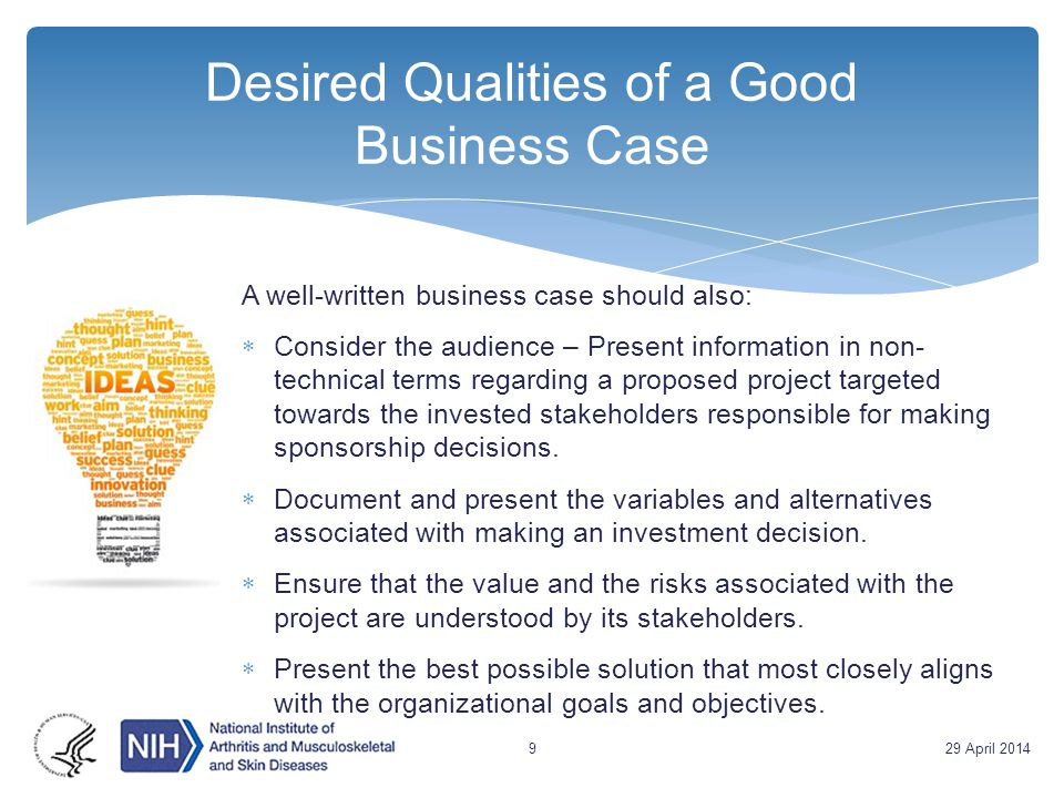 Desired Qualities of a Good Business Case