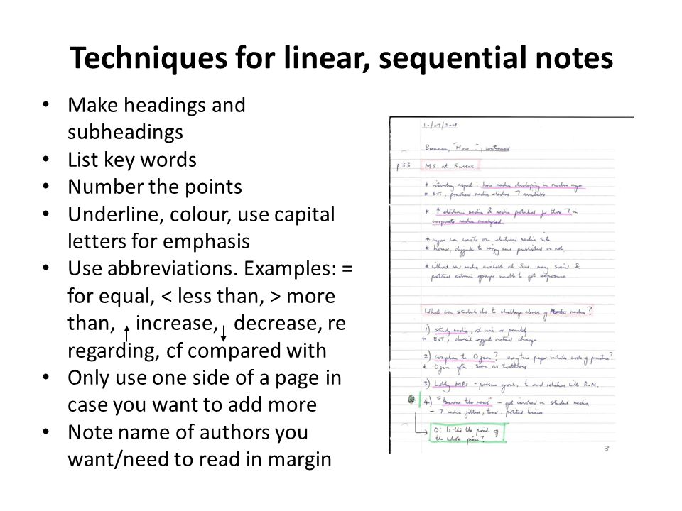 Techniques for linear, sequential notes