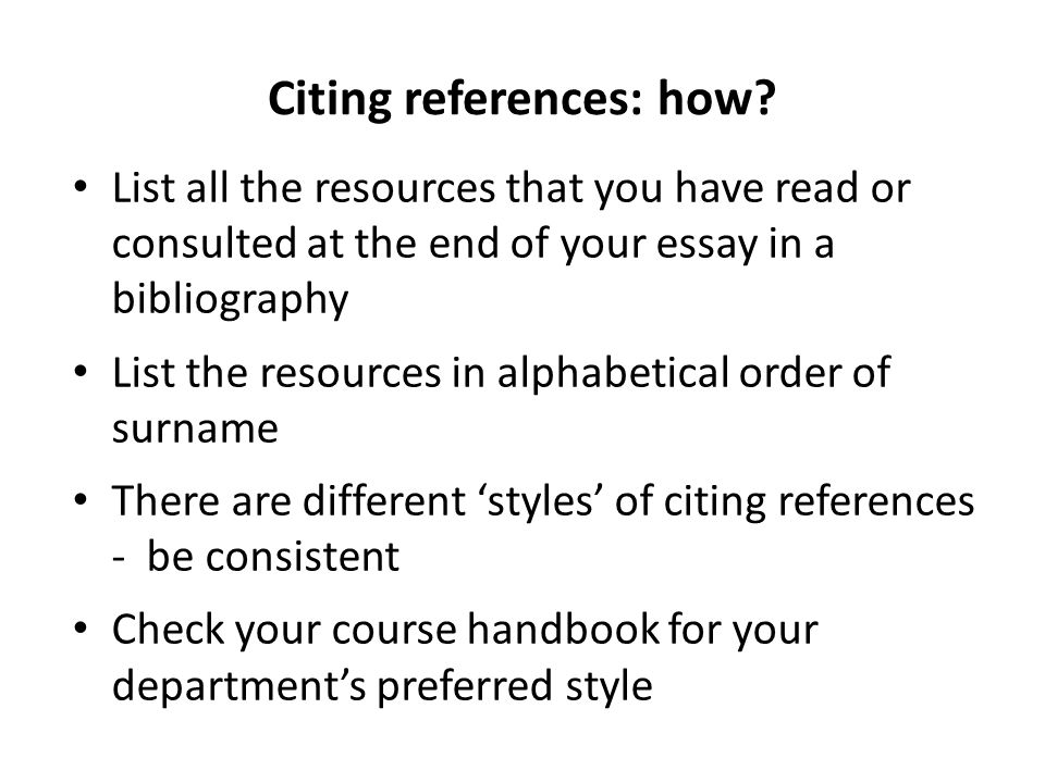 Citing references: how