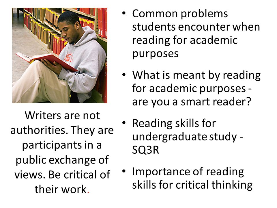 Common problems students encounter when reading for academic purposes