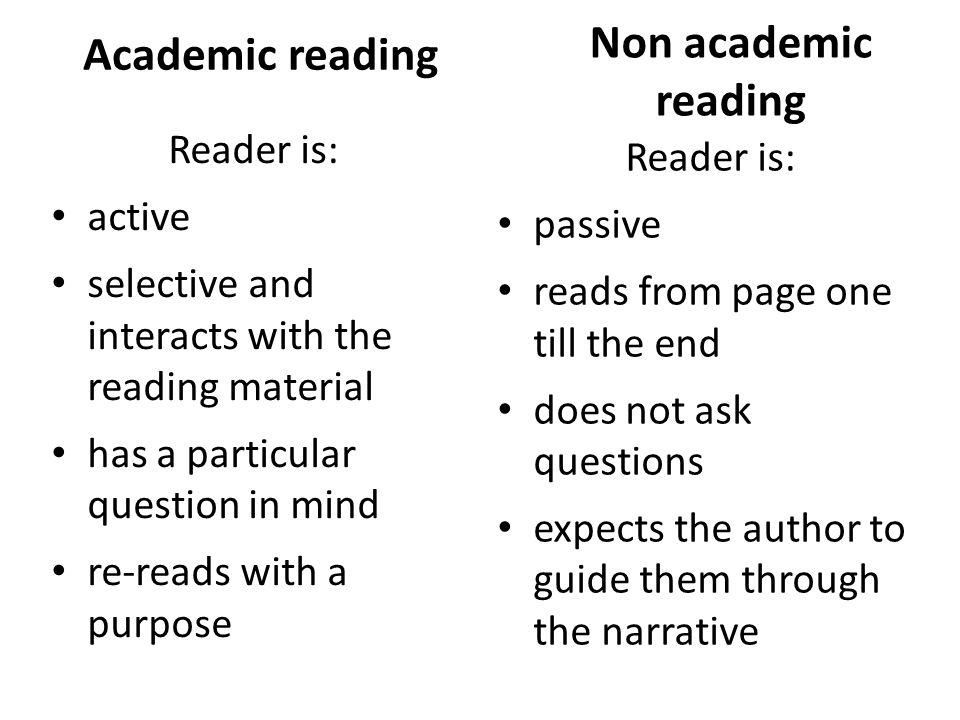 Academic reading Non academic reading