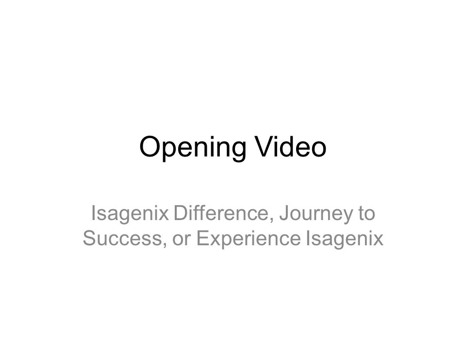 Isagenix Difference, Journey to Success, or Experience Isagenix