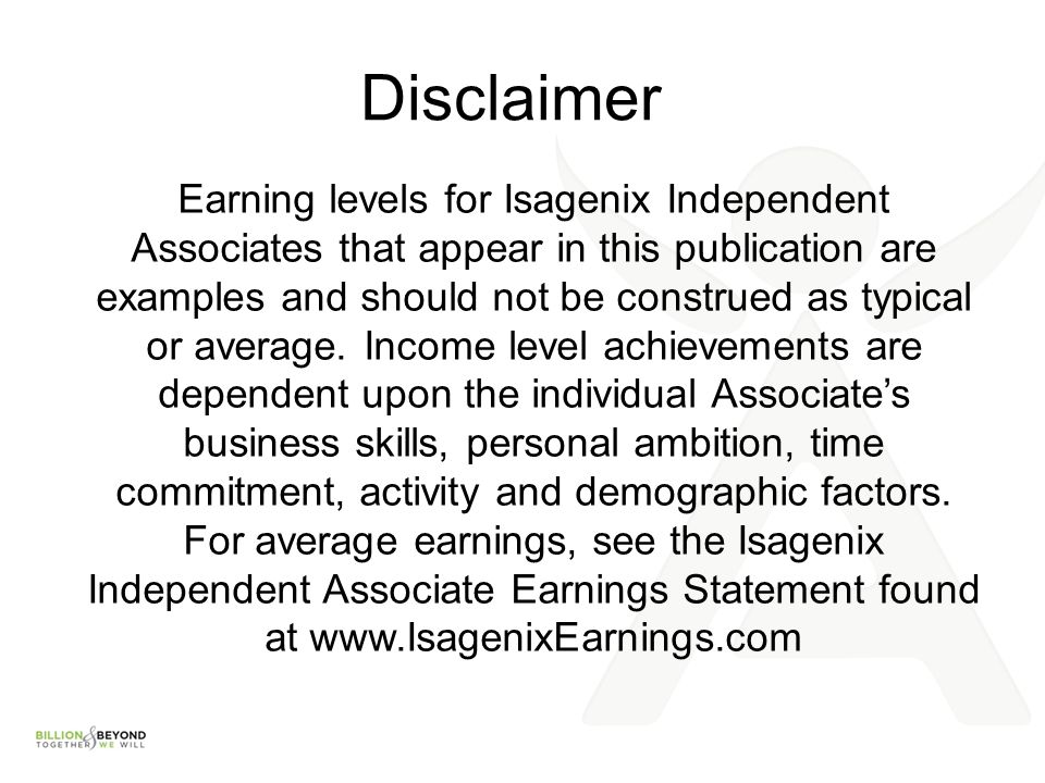 Isagenix difference journey to success or experience for Earnings disclaimer template