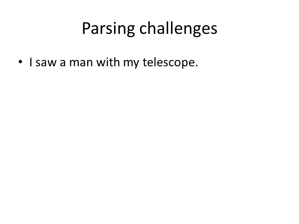 Parsing challenges I saw a man with my telescope.
