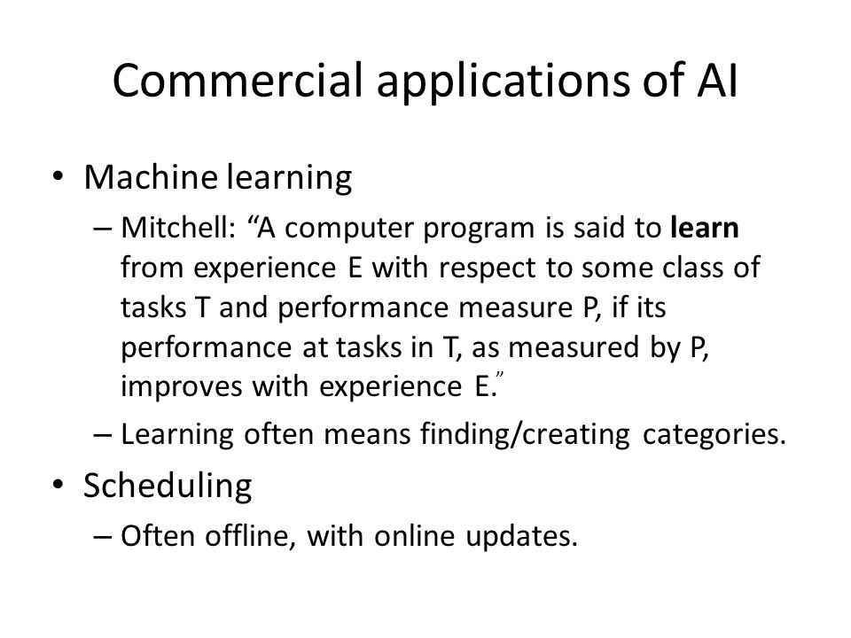 Commercial applications of AI